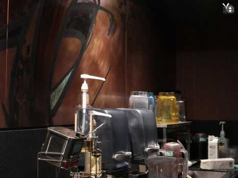 Starbucks coffee maker area